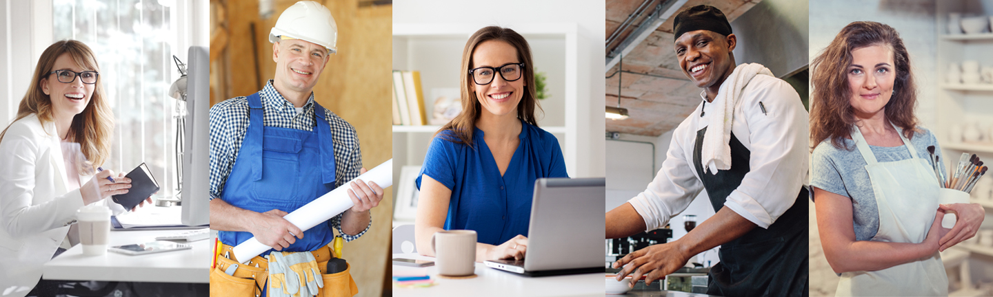 Smiling people at their jobs (five different individuals)